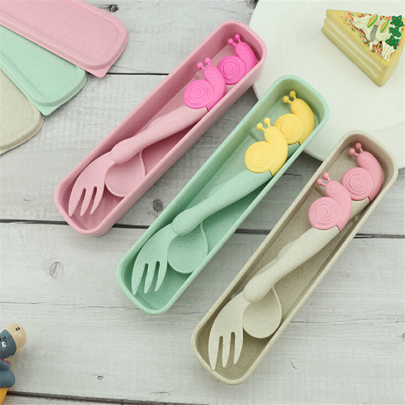 2Pcs/Pack Child Baby Spoon Fork Utensils Set Cute Cartoon Kid Portable Non-slip Elbow Spoon Fork Cutlery Tableware Baby Gadgets
