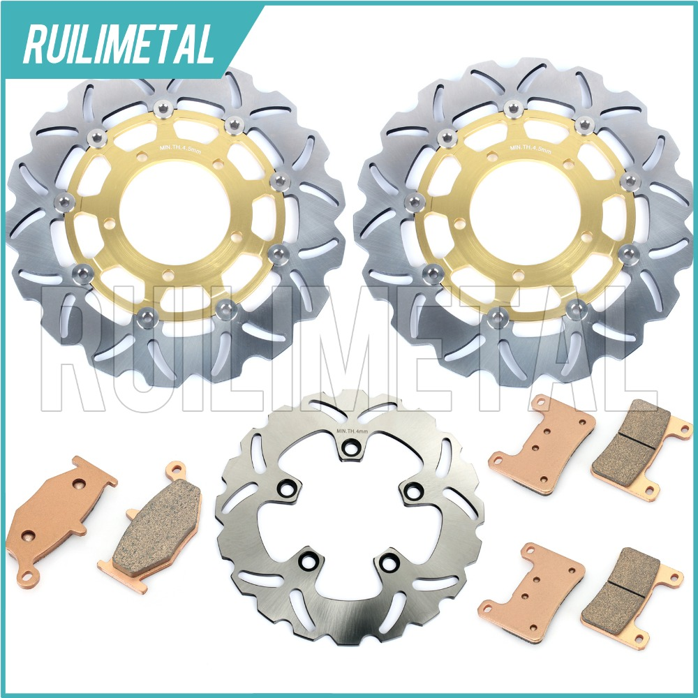 Front Rear Brake Discs Rotors Pads Set for Suzuki GSXR 600 750 06 07 K6 K7 2006 GSX-R 1000 2007 08 2008 K8 New Black Gold full set front rear brake discs disks rotors pads for suzuki gsxr 750 94 95 gsx r 1100 p r s t 1993 1994 1995 1996