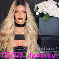 Middle Part 150% Density 1B/613 Blonde Ombre Full Lace Wig Body Wave Front Lace Wig Two Tone Brazilian Dark Roots Ombre Hair Wig