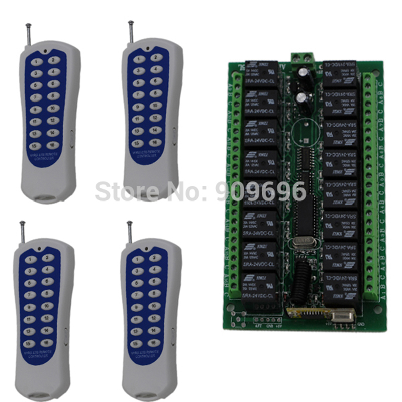 DC24V 16CH Radio Controller RF Wireless Remote Control Switch System,4pcs Transmitter + 1pcs Receiver dc24v 15ch rf wireless switch remote control system receiver