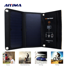 AIYIMA Portable Foldable 15W Solar Charger Powerport Sun Power Outdoor 5V Portable fast Charging Board for Phones