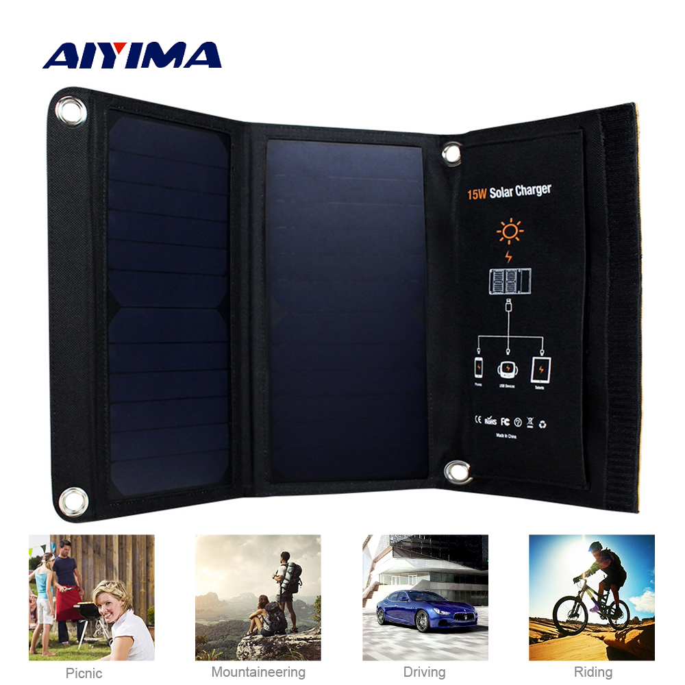 Aiyima Portable Foldable 15W Solar Charger Powerport Sun Power Outdoor 5V Portable fast Charging Board for Phones mini portable charging foldable