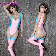 Trajes Lolita Kawaii Baleia Azul Cosplay para Mulheres de Slim Sexy Bodysuits Jogos Mangas Compridas Erótico Abrir Crotch Lingerie Teddy