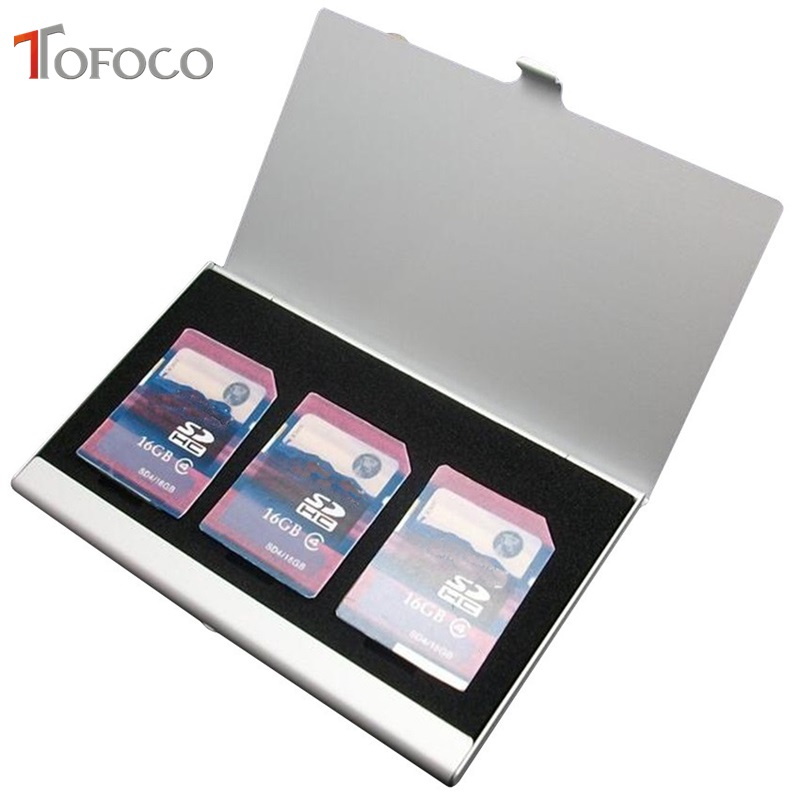 TOFOCO Aluminum Alloy Portable 3 in 1 Aluminum For SD Card Holder Memory Cards Storage Box Case Holder Protector Easy Carry phantom 3 4 inspire1 osmo x5 3 accessories aluminum carrying bag box holder protector sd sdhc cf memory card case