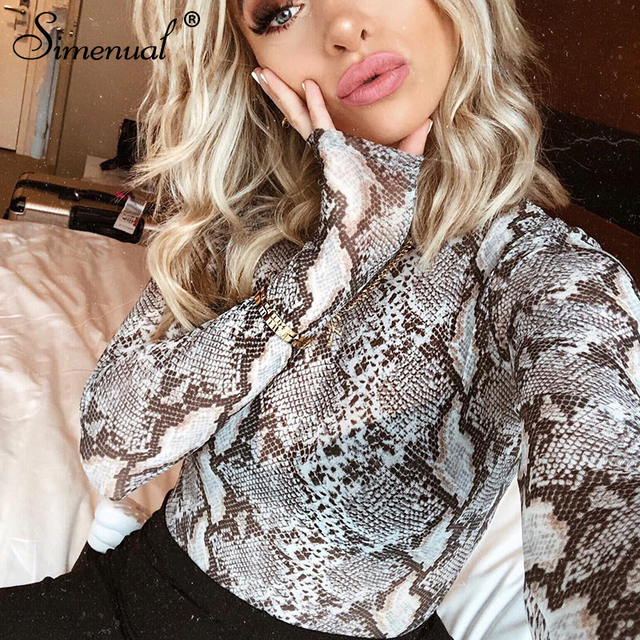 869a5fc83e63 Simenual Snake print mesh bodysuit fitness sexy hot rompers half turtleneck  playsuits long sleeve bodysuits women