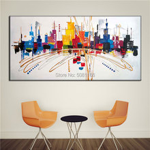 Hand made Fashion Abstract Modern City Painting COLORFUL Acrylic Paint On Canvas RAINBOW CITY Wall Art Picture For Living Room
