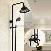 Free Shipping Europea Style Double Handles Bath Mixer Shower Set Rainfall Head Shower Faucet Set Black