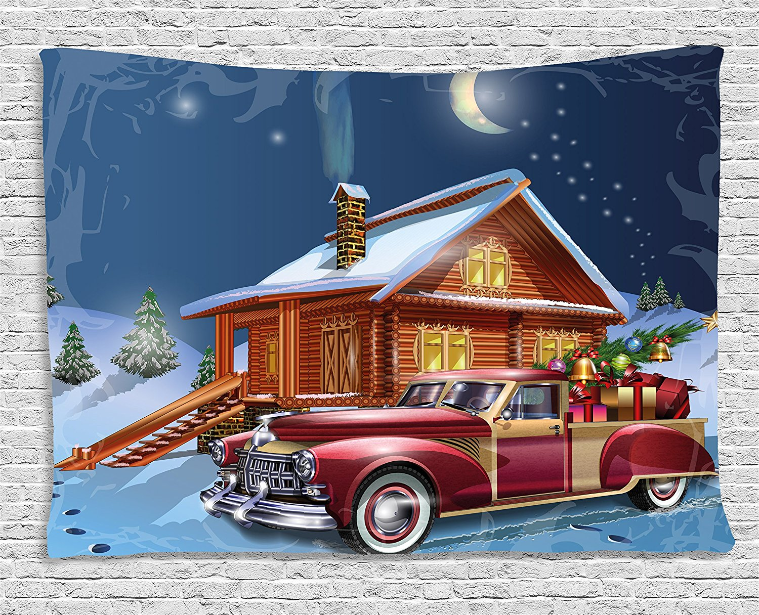 Christmas Wall Hanging Tapestry Red And White American Truck In December Winter Night Moon Stars Xmas Tree Dorm Decor