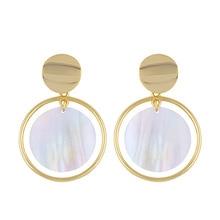 Minimalist Natural Shell Earrings Round Pendant Geometric Gold Large for Women Fashion Jewelry 2019