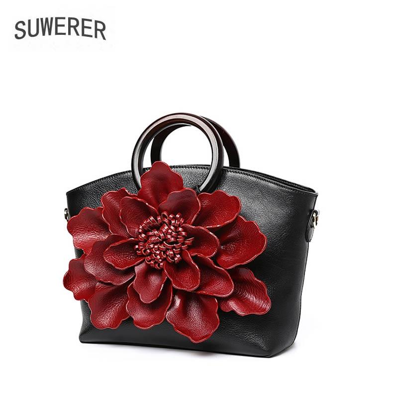 SUWERER 2019 New women genuine leather bag Fashion Handmade three-dimensional flowers tote handbags designer women handbags
