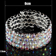 Crystal Rhinestone 4 Rows Spiral Bangles For Women