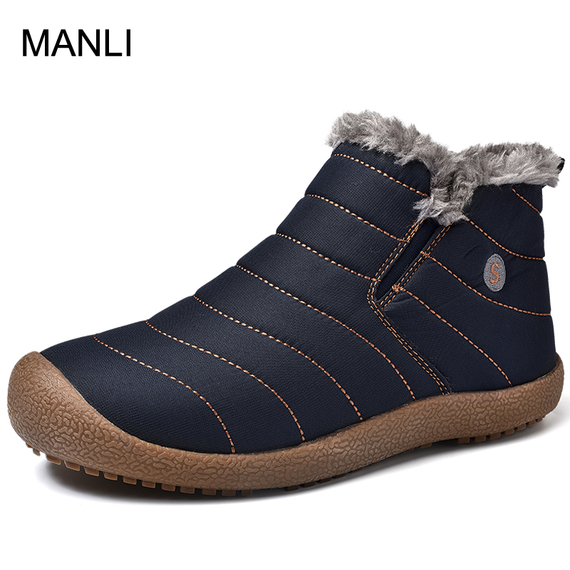 MANLI Men Hiking Shoes Winter Snow Shoes Man Boot Lightweight Ankle Boots Warm Waterproof Mens Rain Boots Ankle Snow Boot Botas