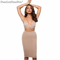 Autumn The Newest Women's Sexy V-neck Strap Wrapped Bright Chest Halter Half-length Skirt Fashion Five Colors Optional Two-piece