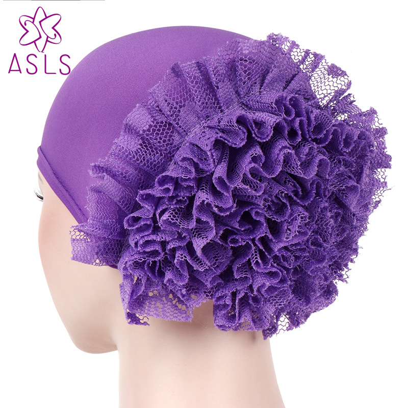 2018 New Fashion Luxury Women Head Wrap Bonnet Turban Sleeping Cap With Spring Flower Ladies Turban