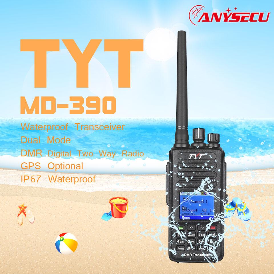DMR Digital Walkie Talkie TYT MD 390 MD390 Waterproof IP67 UHF 400 480MHZ 1000CH 2800MHz Programming