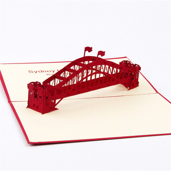 3D Laser Cut Handmade Sydney Harbour Bridge Paper Invitation Greeting Cards PostCard Business Birthday Creative Gift Souvenir image