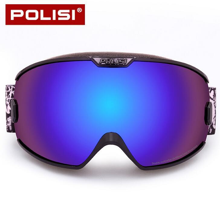 Prix pour Polisi professionnel ski lunettes de neige double couche anti-brouillard orange lentille planche à roulettes lunettes uv protection ski snowboard lunettes