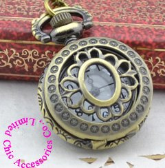 Wholesale Buyer Price Good Quality Woman Girl Vintage New Bronze Mini Flower Petal Pocket Watch Necklace With Chain