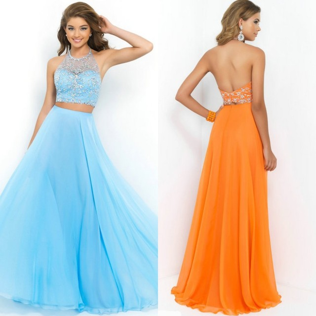 e7a1d108fcc01 Style 9935 Water Melon Orange Light Blue Chiffon Two Pieces Prom Dress  Halter Party Gowns 2015 vestidos