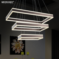 New Arrival LED Pendant Lamp Modern Rectangle LED Hanging Lustre Lighting Coffee Color Art Deco Acrylic Frame Lamp SMD2835