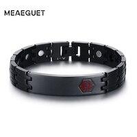 Meaeguet Free Engraving Medical Emergency ID Bracelet Bangle Health Magnetic Power Alert Bracelets Jewelry