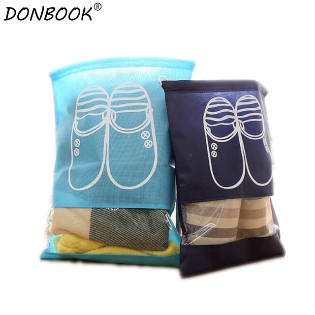 Donbook Waterproof Shoes Bag Pouch Storage Travel Bag Portable Tote Drawstring Bag Organizer Cover Non-Woven Laundry Organizador