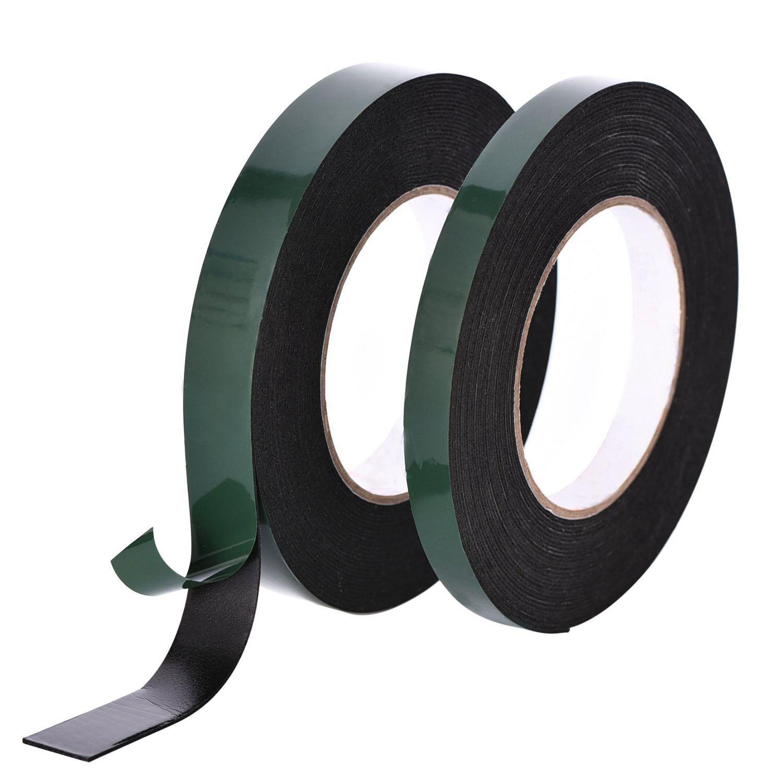 Foam Tape Adhesive Sponge Tape Double Sided Waterproof Mounting Tape Rolls, 15 mm and 25 mm Wide, Black, 2 Rolls, 10 m Each Roll уплотнитель audiocore foam gasket tape 10 x 1 mm 10 m