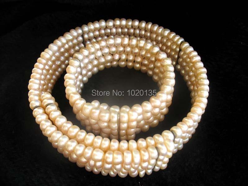 4 linhas perles d'eau douce rose près ronde collier 4 - 5 mm 17 polegada et 7.5 polegada nature gros perles