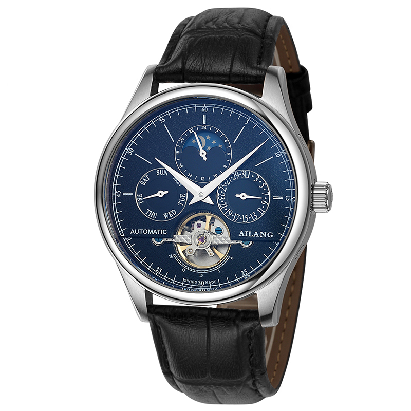 AILANG 6826 Switzerland watches men luxury brand automatic multi-functional Moon Phase Watch tourbillon blue relogio masculino ailang 8221a switzerland watches men luxury brand automatic double tourbillon moon phase hollow business watch relogio masculino