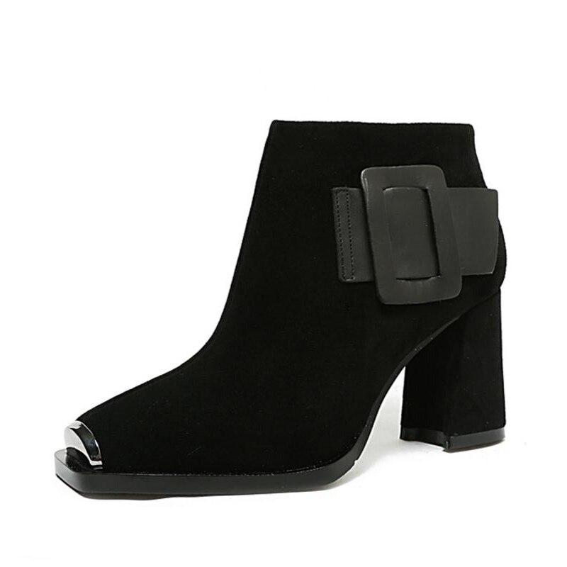 Leder Lebaluka Echt Frauen Größe khaki Winter Kurze 2 Karree Zipper Frau Black black Stiefeletten Heels Schnalle Schuhe 1 40 Stiefel High 33 wrdX6qIxr