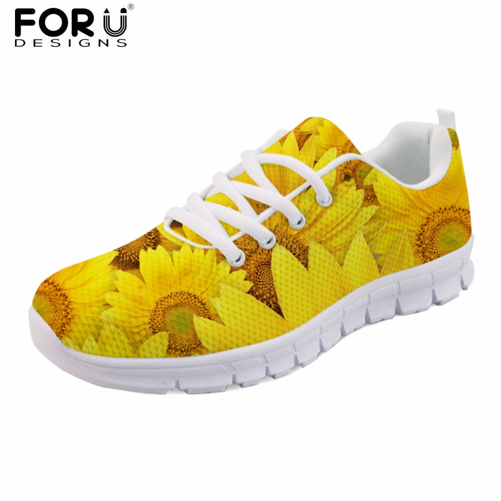 FORUDESIGNS 3D Flower Printed Female Comfortable Spring Shoes Flat Women Casual Brand Lace-up Shoes Woman Chaussures Femme Flats forudesigns 3d flowers pattern women casual sneakers comfortable mesh flats shoes for female girls lace up shoes zapatos mujer