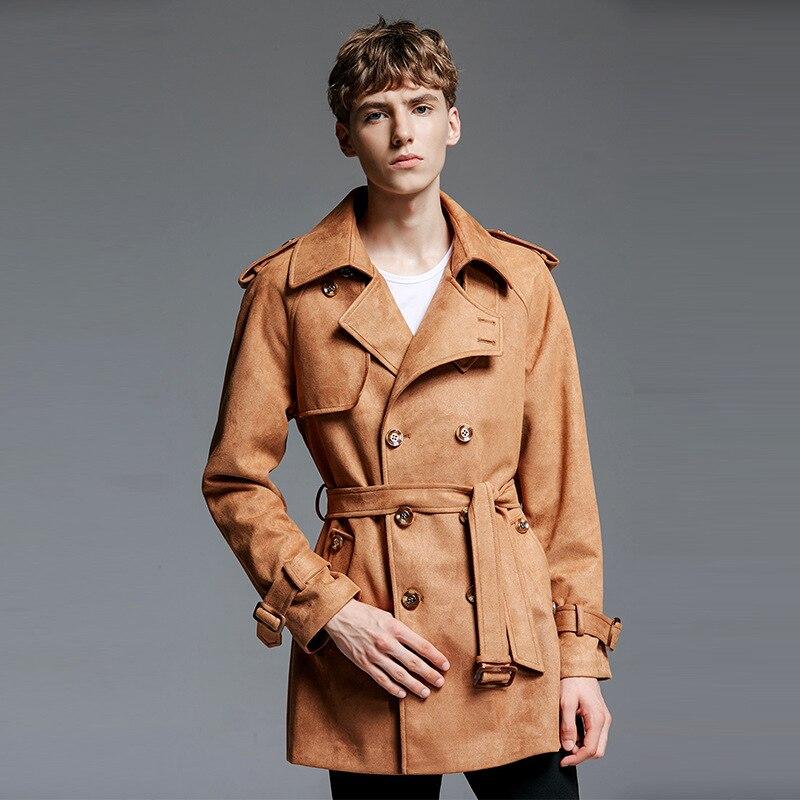 2018 Frühling Herbst Herren Wildleder Windjacke Koreanischen Stil Klassischen Khaki Trenchcoat Männer Mantel Mantel Plus Größe Poncho 6xl