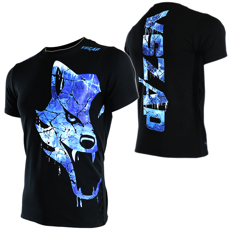 VSZAP Short Sleeve T-shirt Fitness Muay Thai MMA T Shirts Combat Blue Freeze Wolf Fight Movement Kickboxing Mma Jerseys