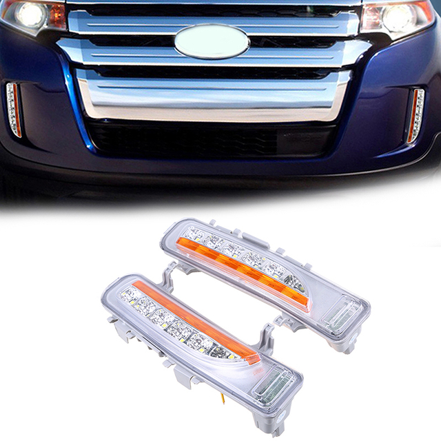 Led Daytime Running Light With Yellow Turn Signal Lights White Lamps Fit For Ford Edge
