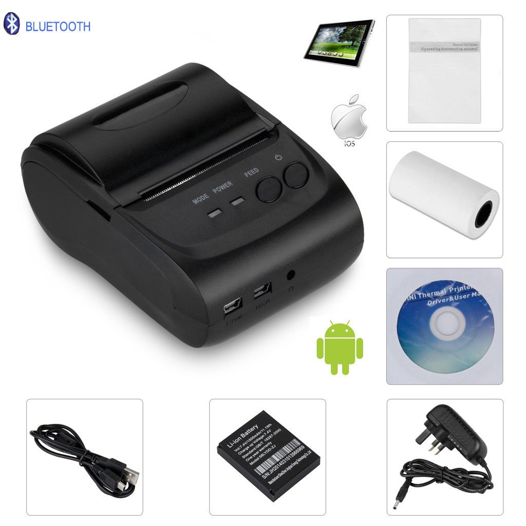 Wireless Bluetooth Mini Portable 58mm Mobile Thermal Receipt Printer USB+serial port For Android IOS serial port best price 80mm desktop direct thermal printer for bill ticket receipt ocpp 802