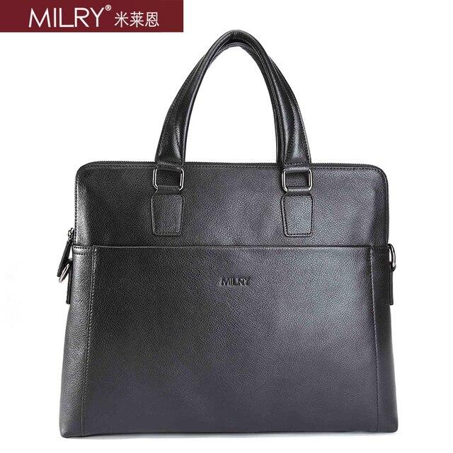 Free shipping Brand MILRY 100% Genuine Leather Briefcase for men shoulder messenger Bag for laptop cowhide handbag CP0019-1