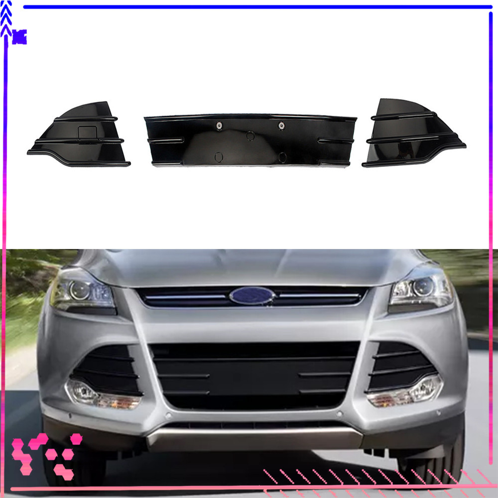 RainMan S Front Bumper Grilles Grill Cover Fit for Ford Escape 2013-2016 Black Set of 3