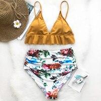 Cupshe Rose Ruffled Hem Bikini Set High Waisted Swimsuit Beach Bathing Suit Swimwear Brazilian Biquini Monokini