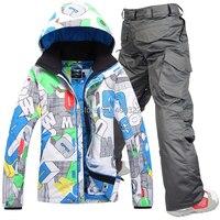 Free Shipping 2015 New Ski Suit Set Men Skiing Outdoor Snowboard Skiing Set Waterproof And Windproof