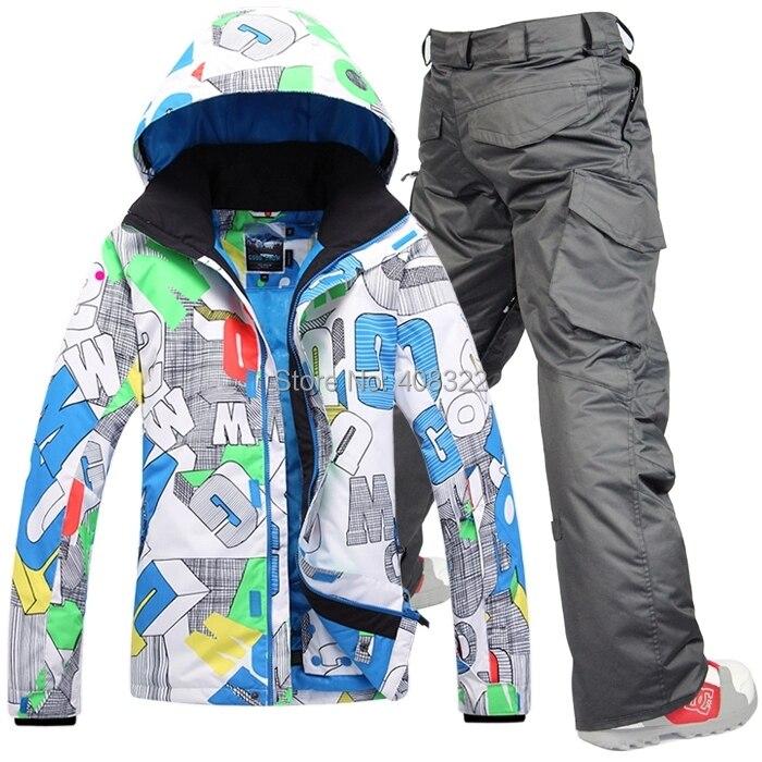Gsou Snow men's ski suit set Men skiing outdoor winter sportswear snowboard skiing set waterproof and windproof thermal clothing