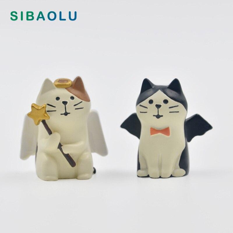 1pc Angel Devil Decole Cats Figurine Lover Resin Craft Anime Model Home Decor Miniature Fairy Garden Decoration DIY Accessories
