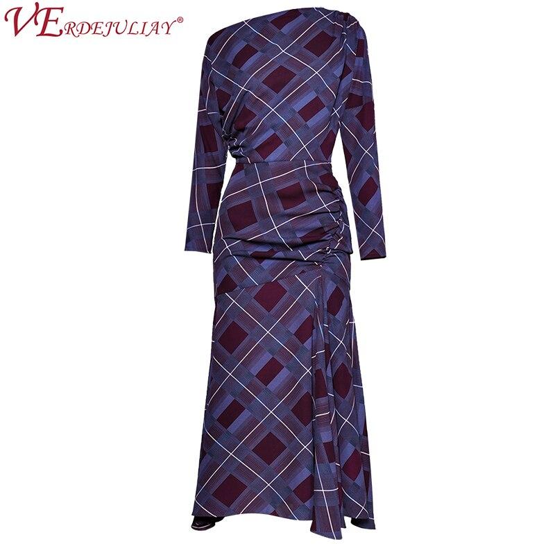 Femmes robes de piste printemps 2019 offre spéciale mode Plaid imprimer cheville-longueur violet élégant Long Noble Vintage robe de sirène