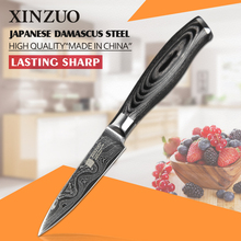 3.5″ inch paring knife 73 layers Japan Damascus kitchen knife sharp peeling fruit knife with Color wood handle free shipping