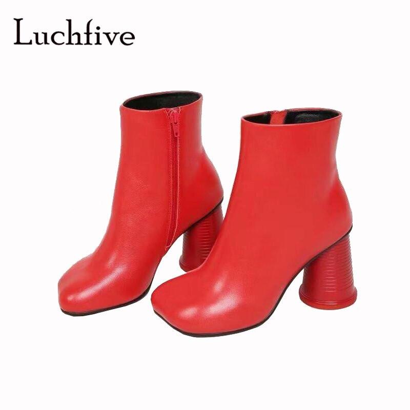Weiß Rot Zipper Winter Neue High Frauen Kurze Wasser Tasse Schuhe Heels Für white Aus Schwarz Echtem Stiefel Sexy Black red Leder Karree TIwqaIx6