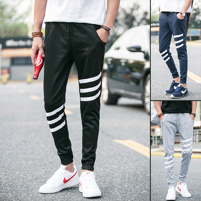 High Fashion Menu0026#39;s Casual Skinny Track Pants Black/gray/navy Tracksuit Trousers Solid Hip Hop ...