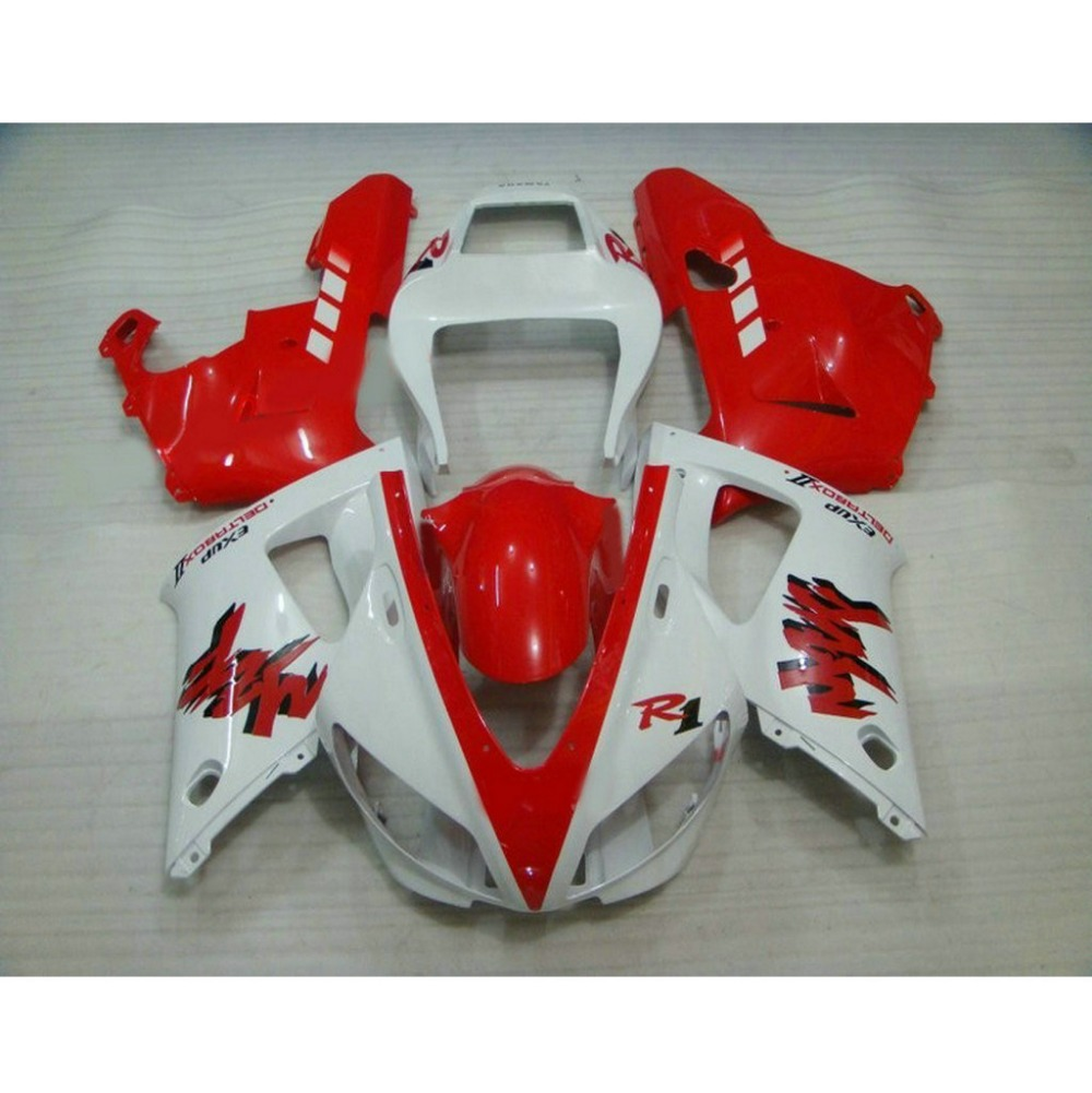 Ucuz fiyat YAMAHA için motosiklet enjeksiyon kalıplı laminer akış kiti 1998 1999 YZF R1 98 99 YZFR1 kırmızı beyaz ABS plastik kaporta kitleri