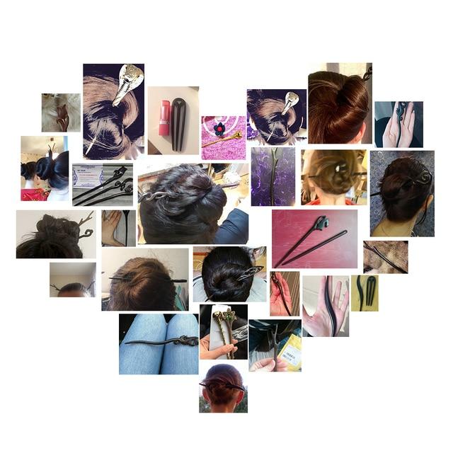 Bijoux de cheveux à La Main En Bois Sculpté Bâtons Épingles À Cheveux U Forme Ebony Chapeaux De Mariée cheveux peigne cheveux accessoires cheveux ornements