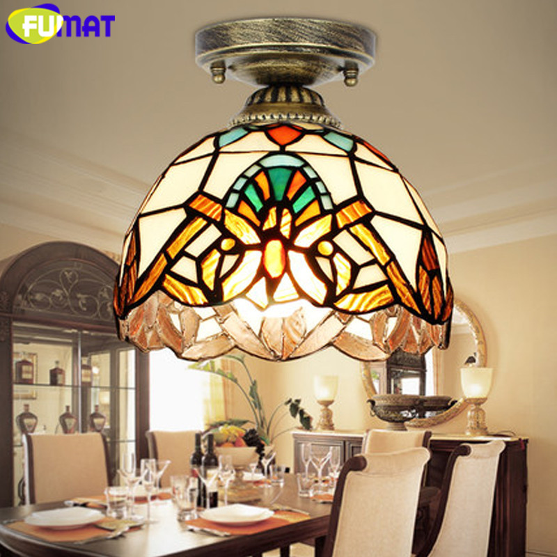 FUMAT ceiling Lamps LED Tiffany Stained Glass lamp luminaria ceiling lights for Living Room plafondlamp Dragonfly Handmade Lamp in Ceiling Lights from Lights Lighting