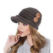 Hembra de punto Beanie Hat mujeres espesar invierno sombreros con gorra de  béisbol botón Crochet gorros cráneo gorras Slouchy Bo. 0f56ae114997