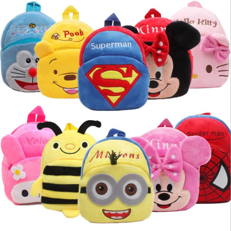 Boy Girls Cartoon Superhero Minnie Backpack Shoulder School Bag Funny Rucksack